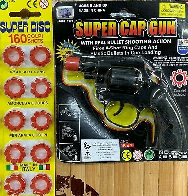 Super Cap Gun Traditional 8 Shot Boys Toy Present Gift Birthday Party Bag Filler • 10.99£