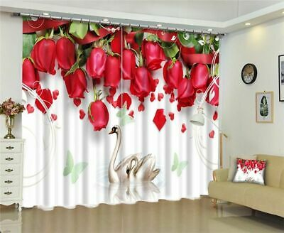 Luxury Blackout 3D Window Curtains  For Living Room Bedroom Drapes Red Rose • 13.04£