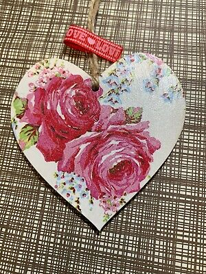£2.99 • Buy SHABBY CHIC Cath Kidston Decoupage Wood Hanging Heart 8cm Old Rose Gift Home