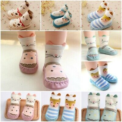Baby Boy Girl Slipper Socks Kids Cute Cartoon Toddler Anti-slip Sock Shoes 0-18M • 5.89£