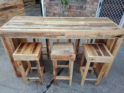 AU2400 • Buy Hand Crafted, Reclaimed Timber Outdoor Setting. Bar Table With 6 Stools