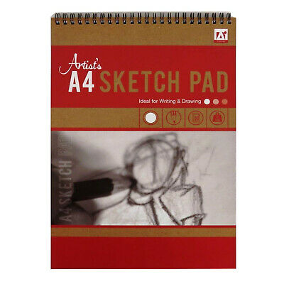 A4 Wirebound Artists Sketch Pad 50 Sheets 70gsm Drawing Art Book • 2.99£
