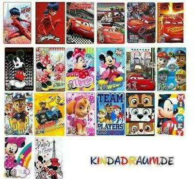 Disney Cars, Mickey Maus, Minnie Maus, Paw Patrol Kuscheldecken Fleecedecken NEU • 11.48£