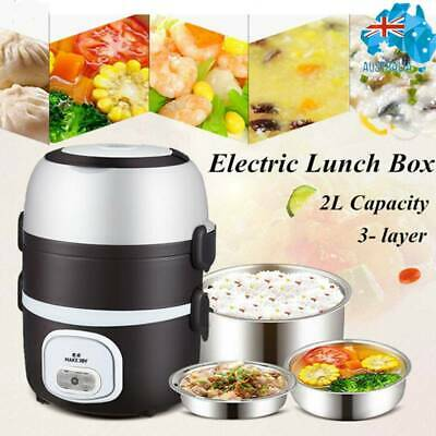 AU29.64 • Buy Multi-function Electric Heating Lunch Box Rice Cooker Warmer Food Container 2L