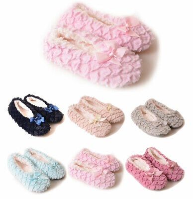 $10.88 • Buy Women's Furry Textured Slippers Sherpa Fleece Lined Non Slip Traction Satin Bow