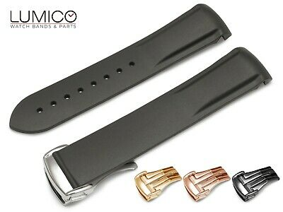 20mm 22mm For OMEGA Watch BLACK Rubber Strap Band Clasp SeaMaster Planet Ocean • 27.50£