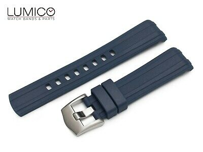 For 20 22mm OMEGA SeaMaster Diver 300m BLUE Rubber Strap Watch Band Clasp Buckle • 29.50£