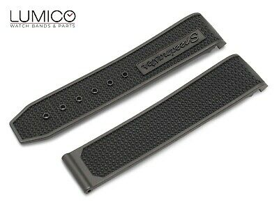 For 22mm OMEGA SpeedMaster BLACK Rubber Strap Watch Band Clasp Buckle Pins • 19.85£