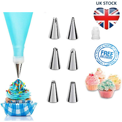 Cake Decorating Set Piping Nozzle Icing Decoration Kit Silicone Pastry Bags 8 PC • 5.99£