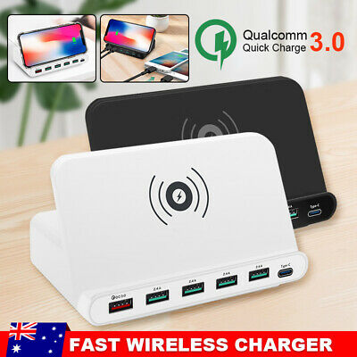 AU38.95 • Buy Fast Wireless Charger 6 USB Hub Charging Stand Station For Iphone 8 Plus X XR XS