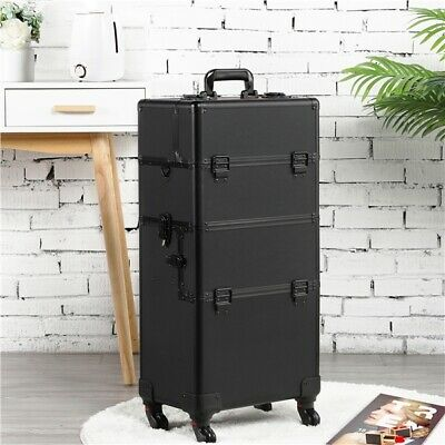 $88.99 • Buy Makeup Train Case Professional Cosmetic Travel Rolling Vanity Organizer Trolley
