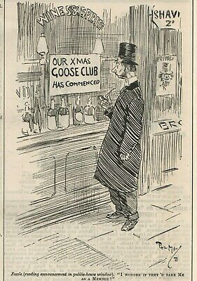Phil May Cartoon - Fozzle To Join The Christmas Goose Club? -  Punch  (1898) • 9.80£