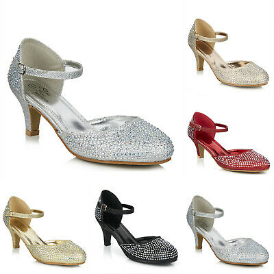 £21.99 • Buy Ladies Low Heel Glitter Diamante Ankle Strap Wedding Evening Party Prom Shoes