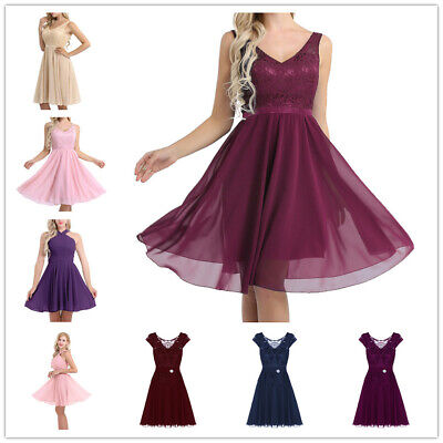Women Formal Lace Short Dress Prom Evening Party Bridesmaid Ball Gown Cocktail • 18.65£