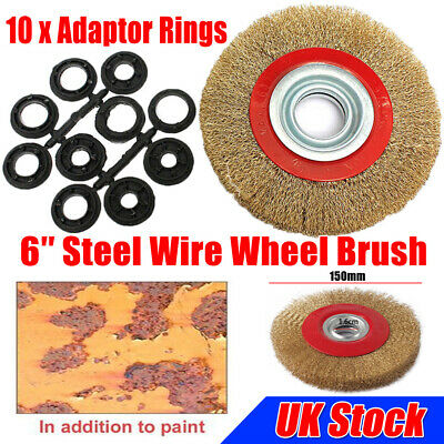 Wire Brush Wheel 6  150mm For Bench Grinder Polish + 10pc Reducers Adaptor Rings • 7.79£