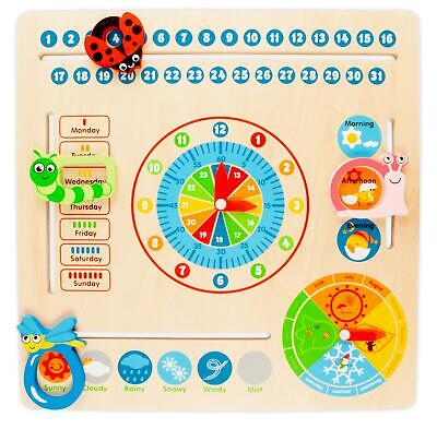 £6.99 • Buy Wooden Calendar Clock Childrens Educational Learning Toy Teach Kids Time & Dates