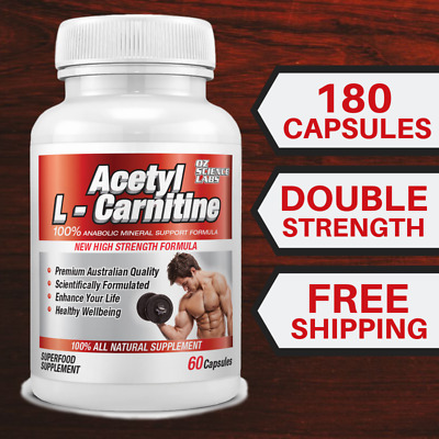 AU29.95 • Buy  3 X Acetyl L - Carnitine Weight Loss Fat Burn Alcar Nootropric 180 Capsules