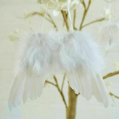5 White Vintage Feather Hanging Angel Wings Christmas Tree Wedding Decor 13x16cm • 5.33£