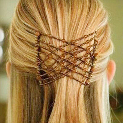 Women's Magic Beads Hair Clips Elastic Slide Easy Double Hair Comb Accessories W • 4.79£