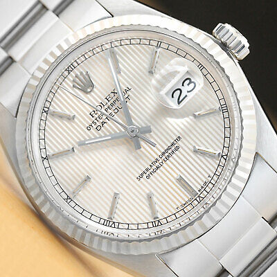 $ CDN5213.47 • Buy Rolex Mens Datejust Tapestry Dial 18k White Gold/stainless Steel Quickset Watch