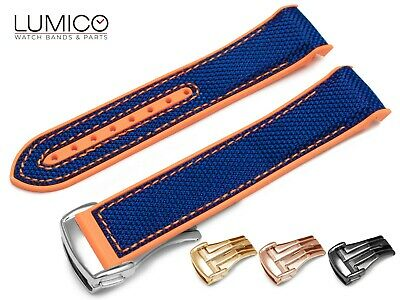 For 20mm 22mm OMEGA SeaMaster Planet ORANGE BLUE Rubber Strap Watch Band Clasp • 29.90£