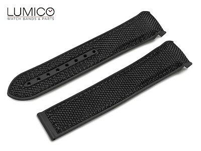 For 20mm 22mm OMEGA SeaMaster Planet Ocean BLACK Rubber Strap Watch Band Clasp • 19.90£