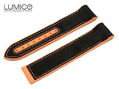 For 20mm 22mm OMEGA SeaMaster Planet ORANGE BLACK Rubber Strap Watch Band Clasp • 19.90£