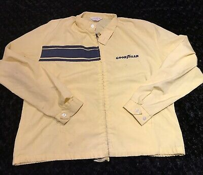 Vintage Goodyear Official Racing Apparel Jacket XL Yellow Vtg Stripes Car Tires • 70$