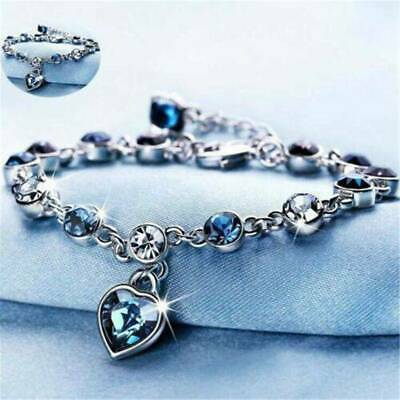 $1.01 • Buy Women Ocean Heart Austrian Crystal Chain Jewelry Bracelet Bangle Adjustable Hot!