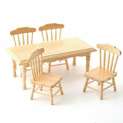 DOLLS HOUSE 1/12th SCALE PINE KITCHEN TABLE AND 4 CHAIRS  • 17.99£