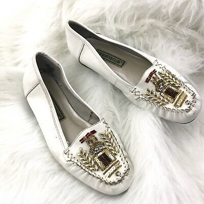 VTG Carysma Club Womens Size 6.5 Leather Beaded Sequin Loafers Ballet Flat Shoes • 9.99$