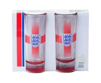 ENGLAND FOOTBALL OFFICIAL EURO 2021 SUPPORTERS Shot Glasses 2pk Christmas Gift • 9.98£