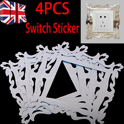 4pcs Silver Mirror Flower Light Switch Surround Wall Sticker Cover Frame Decor S • 2.39£