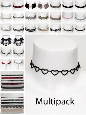 Womens Choker Multi Pack Black Velvet Crystal Necklace Fashion Jewellery New • 1.95£