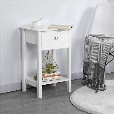 £33.99 • Buy Bedside Table Nightstand Side Table Bedside Cabinet Storage Unit With Drawer