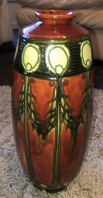 Antique Large Minton Secessionist Tube Lined Vase No1 33 CM Tall 1910 • 245£