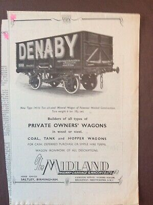 $ CDN3.89 • Buy B9g Ephemera 1940s Advert Denaby The Midland Railway Carriage & Wagon Co Ltd