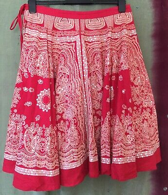 Womens Ethnic Skirt, M, Red, Sequins, Holiday. Boho. • 8.99£