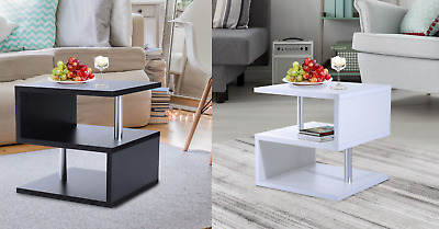 S Shape Side Lamp Coffee Bedside End Table Gloss Shelves TV Unit Display Stand • 64.99£