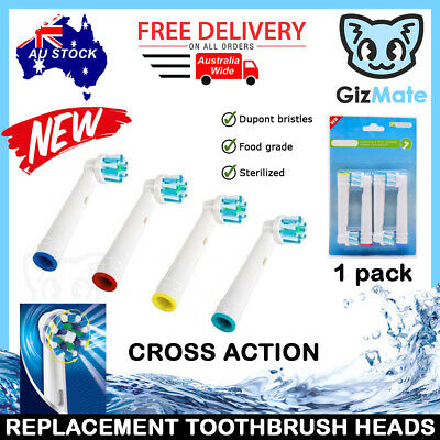 AU6.20 • Buy 4pcs CROSS ACTION Replacement Brush Heads For Oral-B Braun Electric Toothbrushes