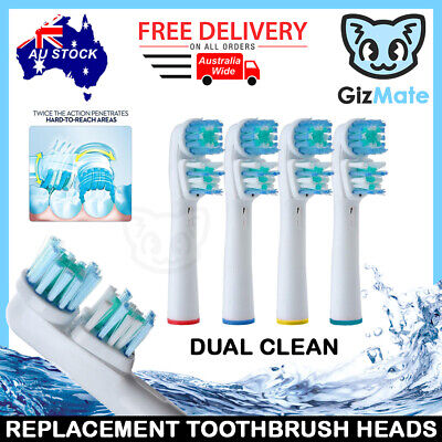 AU6.40 • Buy DUAL CLEAN Oral B Compatible Electric Toothbrush Replacement Brush Heads X4pcs