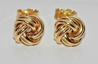 9ct Yellow Gold On Silver Celtic Love Knot Ladies Stud Earrings ~ • 10.95£