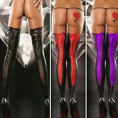 Women Fashion Leather Stockings Plus Size Sexy Lace Soft Thigh-high Long Socks • 3.70£