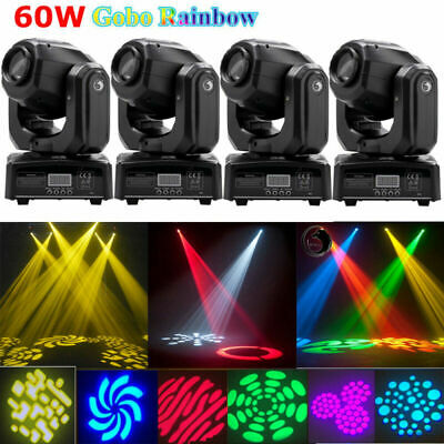 4PCS U`King 60W RGBW LED Gobo Moving Head Spot Stage Lights DMX Disco DJ Party • 314.99£