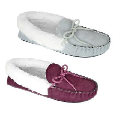 Ladies Microsuede Soft Faux Fur Trim Moccasin Slippers Fleece Lining Sizes 3-8 • 9.95£