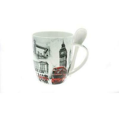 Old London Collage Theme Mug And Spoon Set Gift Boxed Souvenir Gift • 9.99£
