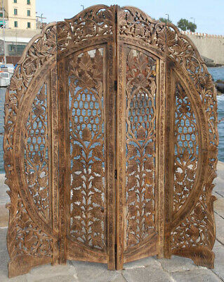 £182.90 • Buy Paravent 4 Panel Headboard Hand Carved Wooden Screen Room Divider Free P & P  R