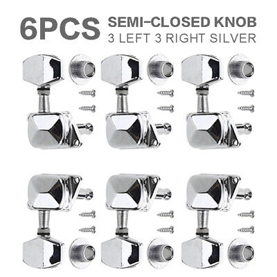 $11.89 • Buy 1Set Silver Electric Acoustic Guitar Tuners Machine Heads Tuning Pegs Keys 3R+3L