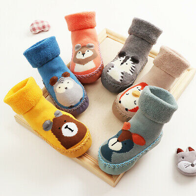 Baby Boy Girl Kids Cute Cartoon Toddler Anti-slip Sock Shoes Boots Slipper Socks • 5.99£