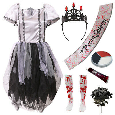Childs Undead Prom Queen Halloween Costume Zombie Gothic Girls Bride Fancy Dress • 10.99£